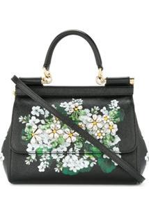 Dolce & Gabbana Bolsa Tote Sicily Floral - Preto