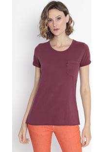 Camiseta Com Bolso - Bordôcavalera