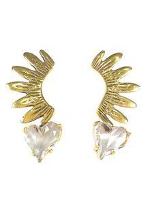 Brinco Armazem Rr Bijoux Coração Cristal Swarovski Dourado