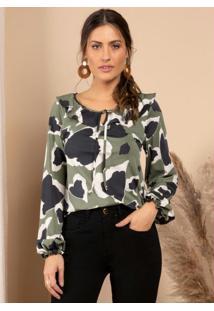 Blusa Animal Print Verde Com Babado No Decote