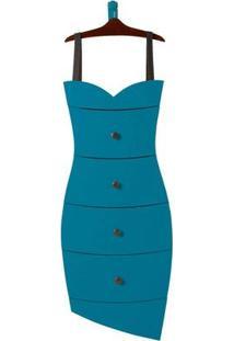 Cômoda Com 4 Gavetas Dress Maxima Cacau/Azul