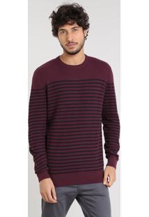 Suéter Masculino Em Tricô Listrado Gola Careca Vinho