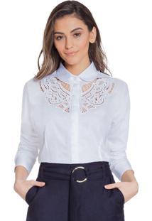 Camisa Branca Bordado Vazado