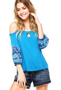 Blusa Ciganinha Enfim Estampa Azul