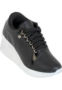 Tênis Sneaker Preto Com Salto