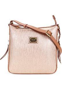 Bolsa Couro Luz Da Lua Mini Bag Feminina - Feminino-Dourado