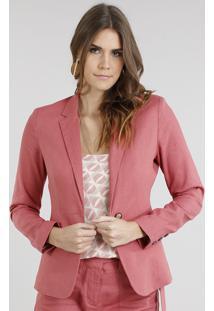 ec56326680 Blazer Feminino Em Linho Acinturado Coral