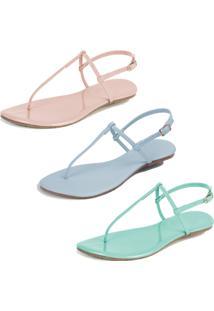 Kit 3 Pares Sandália Rasteira Mercedita Shoes M38 Rosa/Azul/Verde