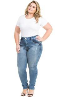 1915905be ... Calça Confidencial Extra Plus Size Jeans Cigarrete De Cintura Alta  Feminina - Feminino-Azul