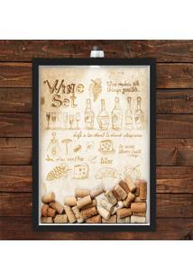 Quadro Caixa Porta Rolha De Vinho 33X43 Cm (Com Led) Lojaria E Nerderia. Wine Set Preto - Preto - Dafiti