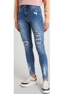 Calça Jeans Feminina Sawary Super Skinny Heart Cintura Alta Destroyed Azul Médio