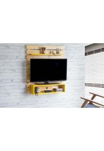 Rack Suspenso Standby - Painel De Madeira Para Tv Até 45 Polegadas Natural E Amarelo -100X23X115 Cm