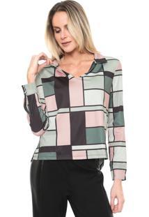 Camisa Lança Perfume Geométrica Verde/Rosa