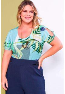 Blusa Estampada Almaria Plus Size Lilian Plus Vaza