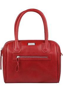 Bolsa Em Couro Texturizada- Vermelha- 22X31X17Cmdi Marlys