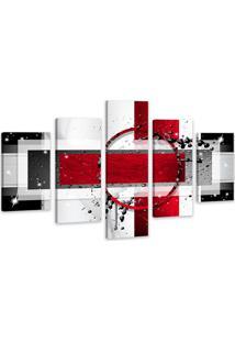Quadro Oppen House 75X125Cm Abstrato Vermelho Decorativo Interiores Luxo
