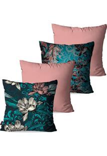 Kit Com 4 Capas Para Almofadas Pump Up Decorativas Rosa Flores 45X45Cm
