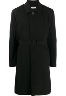 Givenchy Trench Coat De Lã Com Cinto - Preto