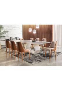Conjunto De Mesa De Jantar Ane Com 8 Cadeiras Esmeralda Iii Linho Off White E Caramelo