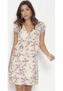 Vestido Floral & Laços- Bege & Vinhobobstore