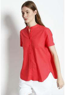 Camisa Em Linho Com Sobreposiã§Ã£O- Coral- Lacostelacoste