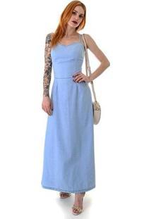 Vestido Frente Única Bolso Faca Oprk Feminino - Feminino-Azul