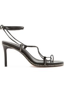 Sandália Salto Lace-Up Glam Black | Schutz