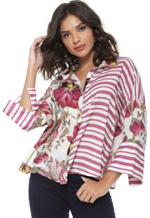 Camisa Lança Perfume Reta Floral Rosa