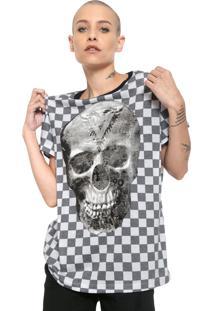 Camiseta Cavalera Estampada Branca/Cinza