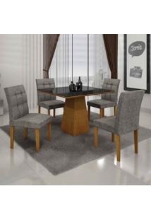 Conjunto De Mesa Com 4 Cadeiras Itália Ii Imbuia Mel E Cinza