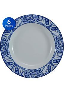Conjunto Pratos Fundos Azulejo 6 Peças - Schmidt - Branco / Azul