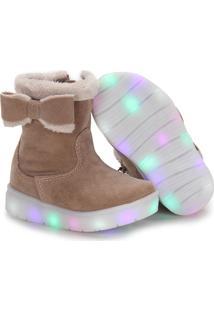 Ankle Boots Infantil Klassipé Com Led - 20 Ao 27 - Bege