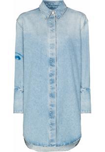 Off-White Chemise Jeans Com Estampa De Face - Azul