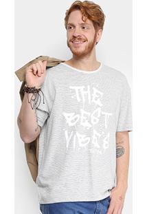 Camiseta Com Linho Triton Listrada Masculina - Masculino-Branco