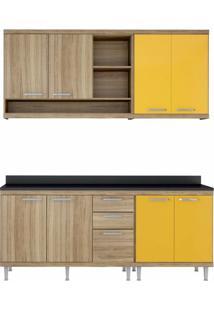 Cozinha Compacta 4 Peças Sicília S10T Multimóveis Argila/Amarelo Gema