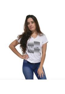 Camiseta Gola V Cellos Degradê Premium Feminina - Feminino-Branco