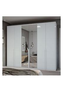 Guarda Roupa Casal C/ Espelho 6 Portas 5 Gavetas Únique Móveis Lopas Branco