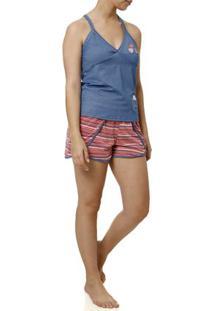 Pijama Curto Feminino Azul
