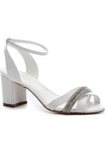 Sandália Couro Shoestock Noiva Strass Feminina - Feminino-Branco