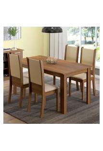 Conjunto Sala De Jantar Madesa Melissa Mesa Tampo De Madeira Com 4 Cadeiras Marrom