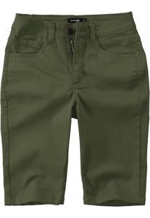 Bermuda Slim Em Sarja Malwee Verde Escuro - 34