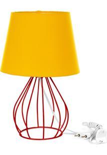 Abajur Cebola Dome Amarelo Com Aramado Vermelho - Amarelo - Dafiti