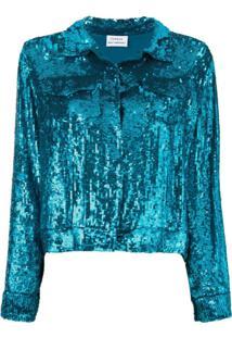 P.A.R.O.S.H. Jaqueta Cropped Com Paetês - Azul