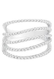 Anel Ouro Branco E Diamantes