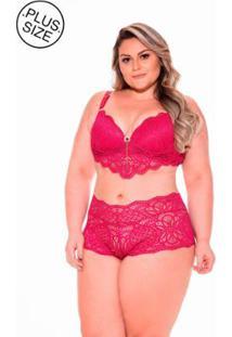 Sutiã Long Renda Dukley Lingerie Plus Size - Feminino-Vermelho