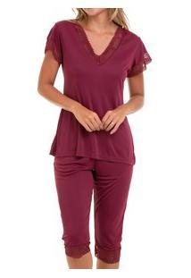 Pijama Capri Liganete Com Renda (2270) Vinho