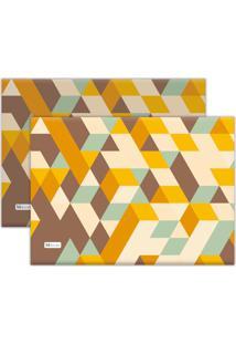 Kit 2Pçs Jogo Americano Mdecor Abstrato 40X28Cm Amarelo