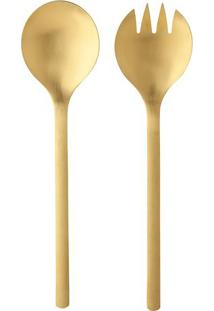 Jogo De Talheres Para Salada Elemental- Inox & Dourado