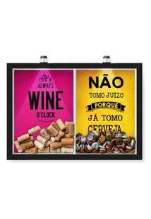 Quadro Porta Rolha Vinho E Tampinha Cerveja (2 Em 1) 33X43 Cm - Com Led Nerderia E Lojaria Wine Oclock E Juizo Preto