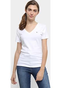 Camiseta Tommy Hilfiger Im A Cody Round Top Feminina - Feminino-Branco